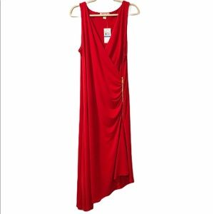 Michael Kors Red Side Zip Ruched Faux Wrap Dress